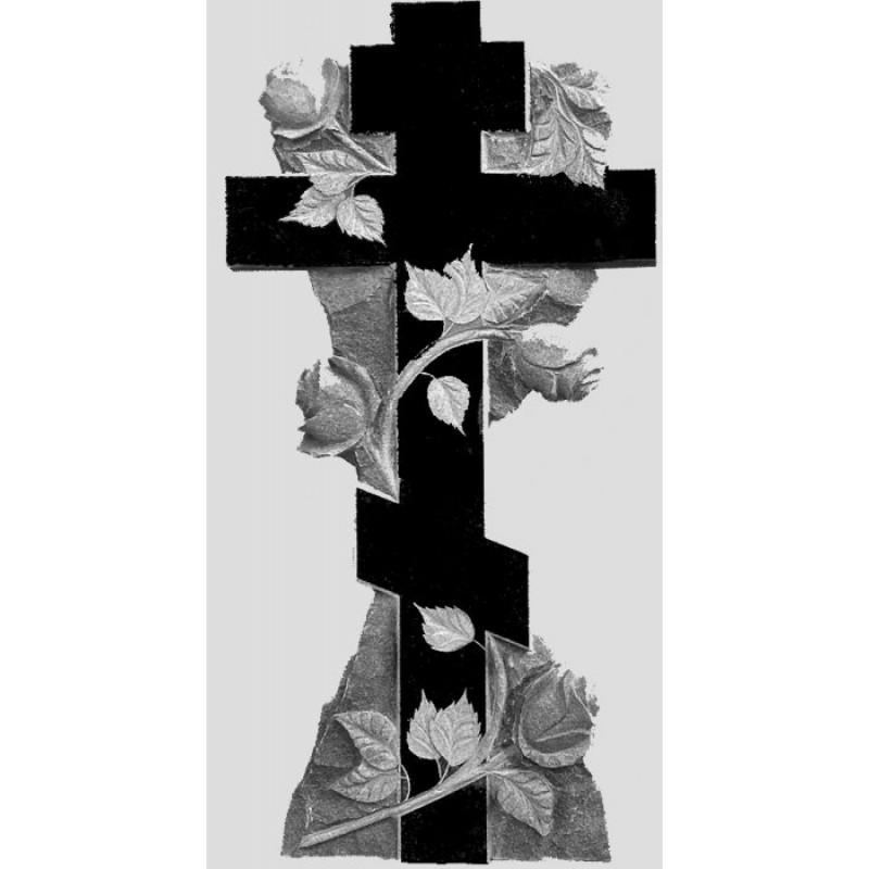 Памятник из гранита - крест с розами -Р8