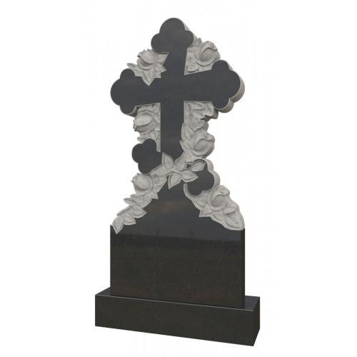 Памятник из гранита - крест с розами -Р9