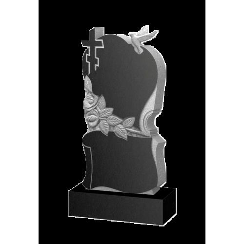 Памятник из гранита - голубь сердце розы - Р17