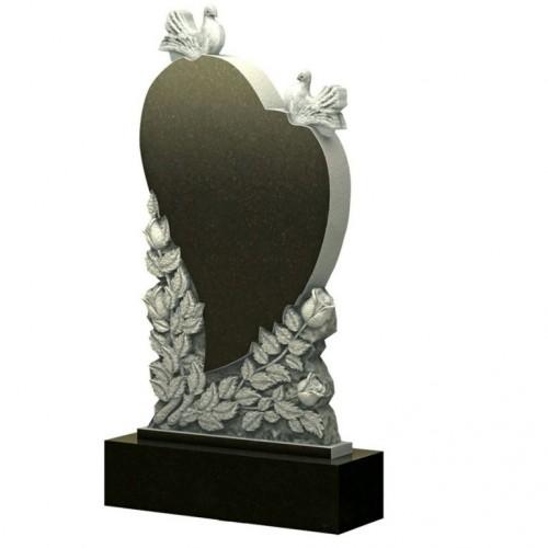 Памятник из гранита - голуби сердце розы - Р16