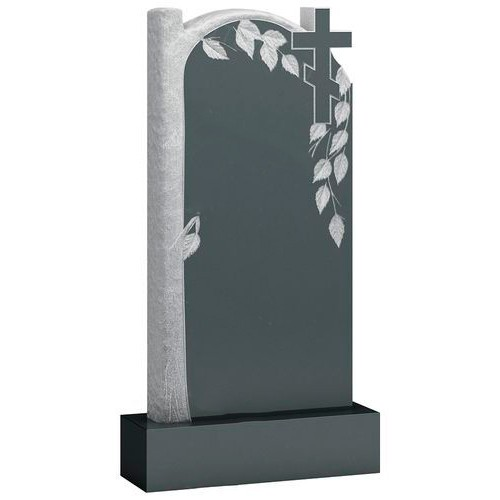 Памятник из гранита - крест и береза мемориал A912